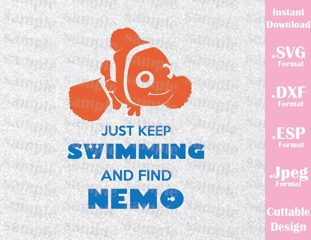 Nemo Quote Just Keep Swimming Inspired Cutting File in SVG, EPS, DXF and JPEG Format