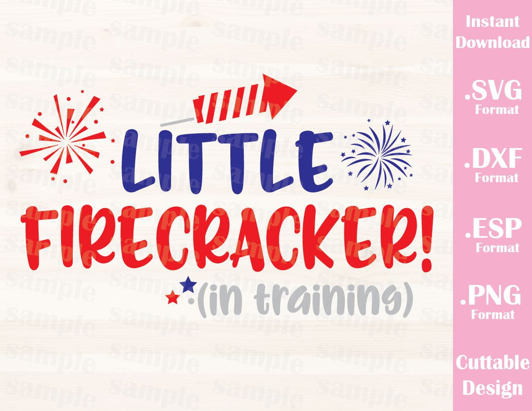 Fourth of July Quote, Little Firecracker in Training, Cutting File in SVG, ESP, DXF and PNG Format for Cutting Machines Silhouette Cricut