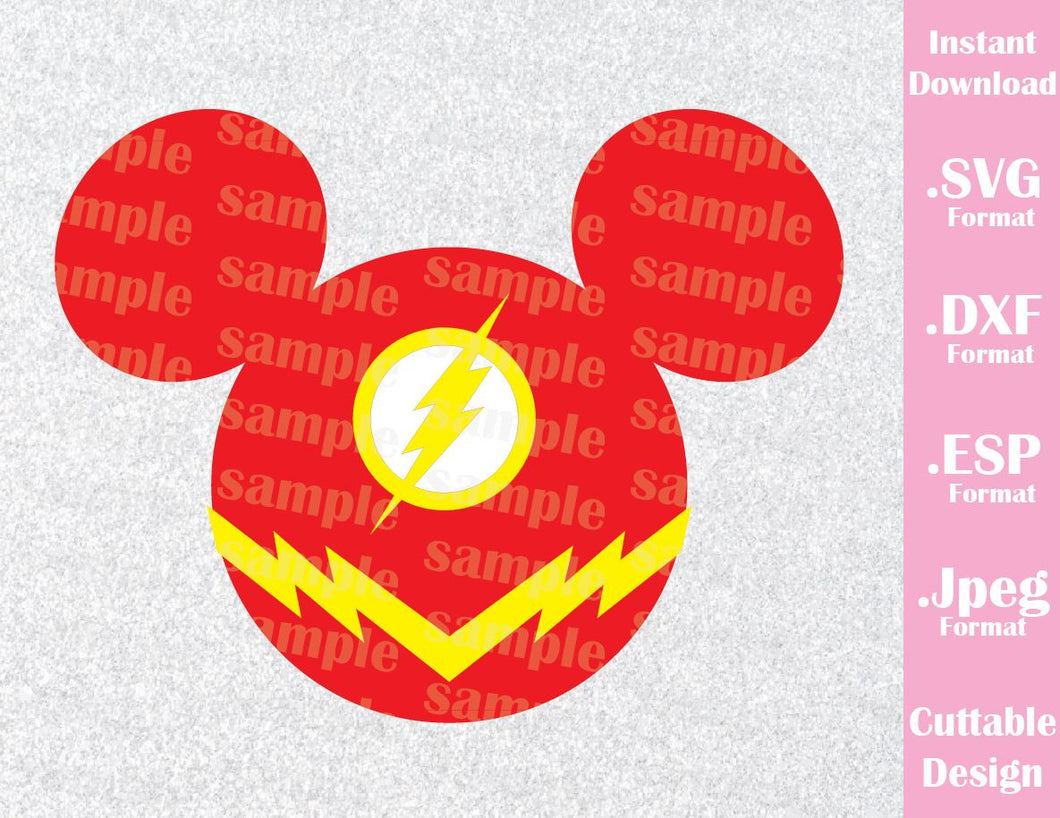 Flash Superhero Mickey Ears Inspired Cutting File in SVG, ESP, DXF and JPEG Format