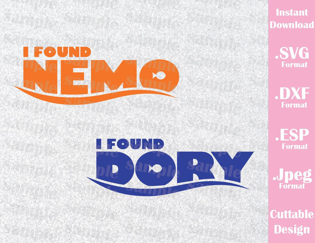 Nemo and Dory Quote Inspired Cutting File in SVG, EPS, DXF and JPEG Format
