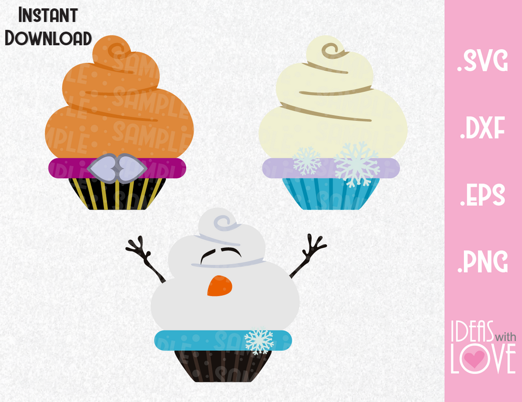 Frozen Elsa, Anna, Olaf Cupcake Bundle Inspired SVG, EPS, DXF, and PNG Formats