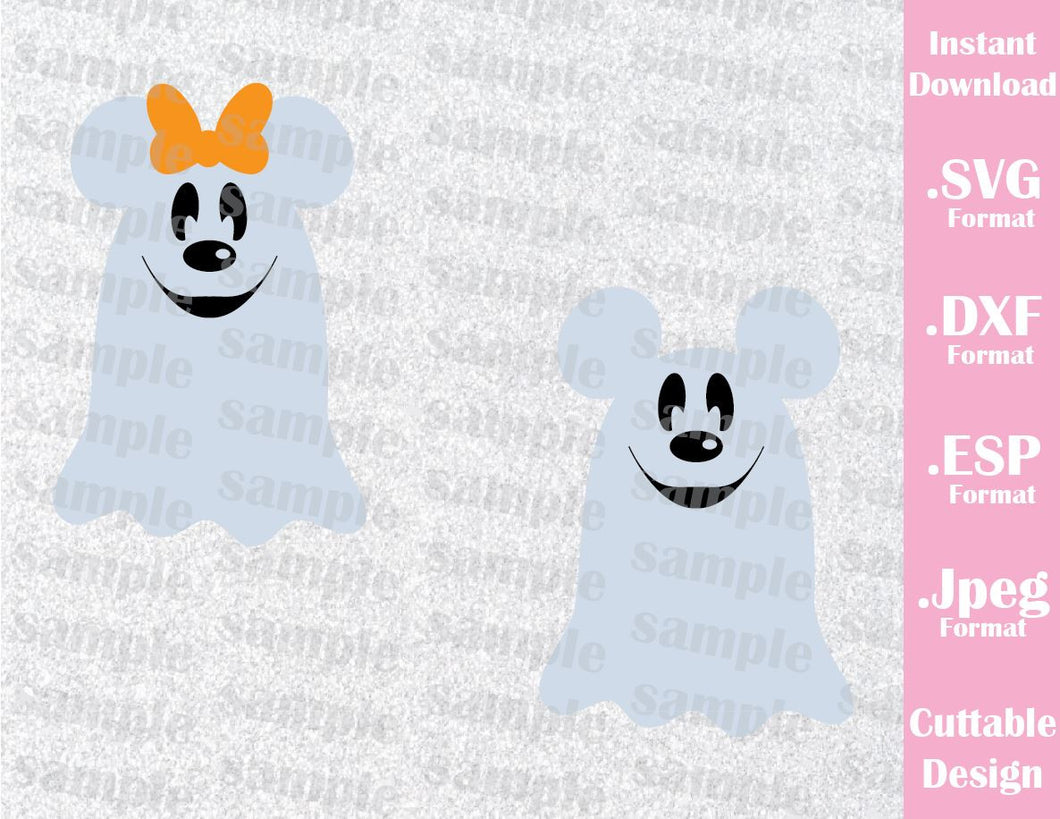 Ghost Mickey and Minnie Ears Disney Halloween Inspired Cutting File in SVG, ESP, DXF and JPEG Format