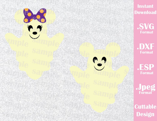 Ghost Mickey and Minnie Ears Halloween Inspired Cutting File in SVG, EPS, DXF and JPEG Format