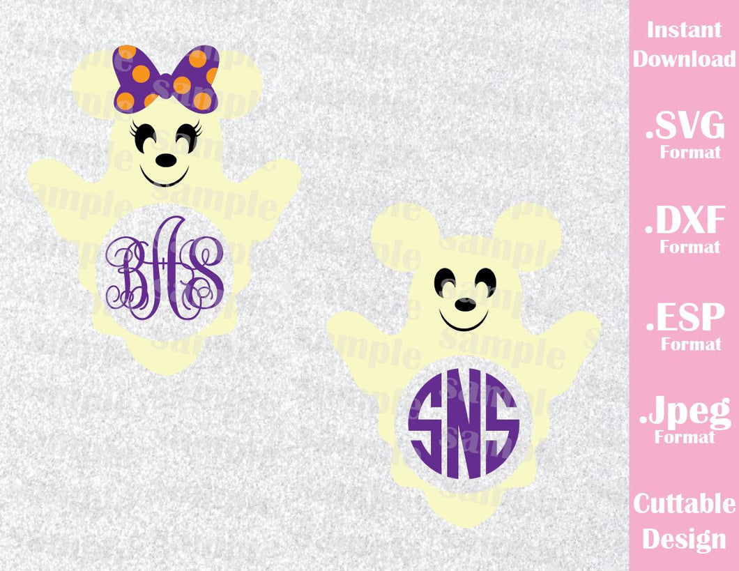 Ghost Mickey and Minnie Ears (NOT include Font or Monogram) Halloween Inspired Cutting File in SVG, EPS, DXF and JPEG Format