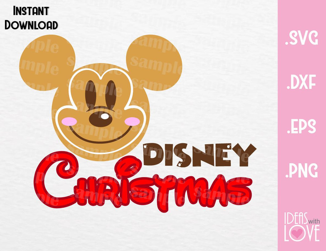 Gingerbread Mickey Ears Disney Christmas Inspired Cutting File in SVG, EPS, DXF, PNG and JPEG Format