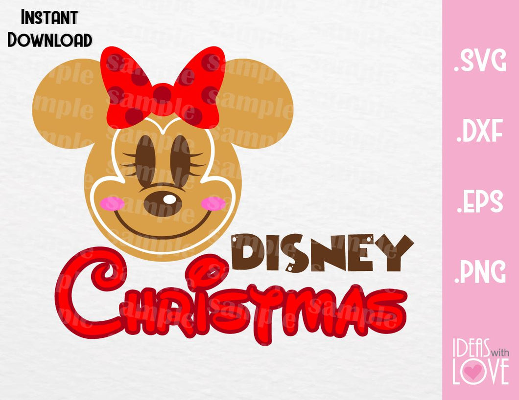 Gingerbread Minnie Ears Disney Christmas Inspired Cutting File in SVG, EPS, DXF, PNG and JPEG Format