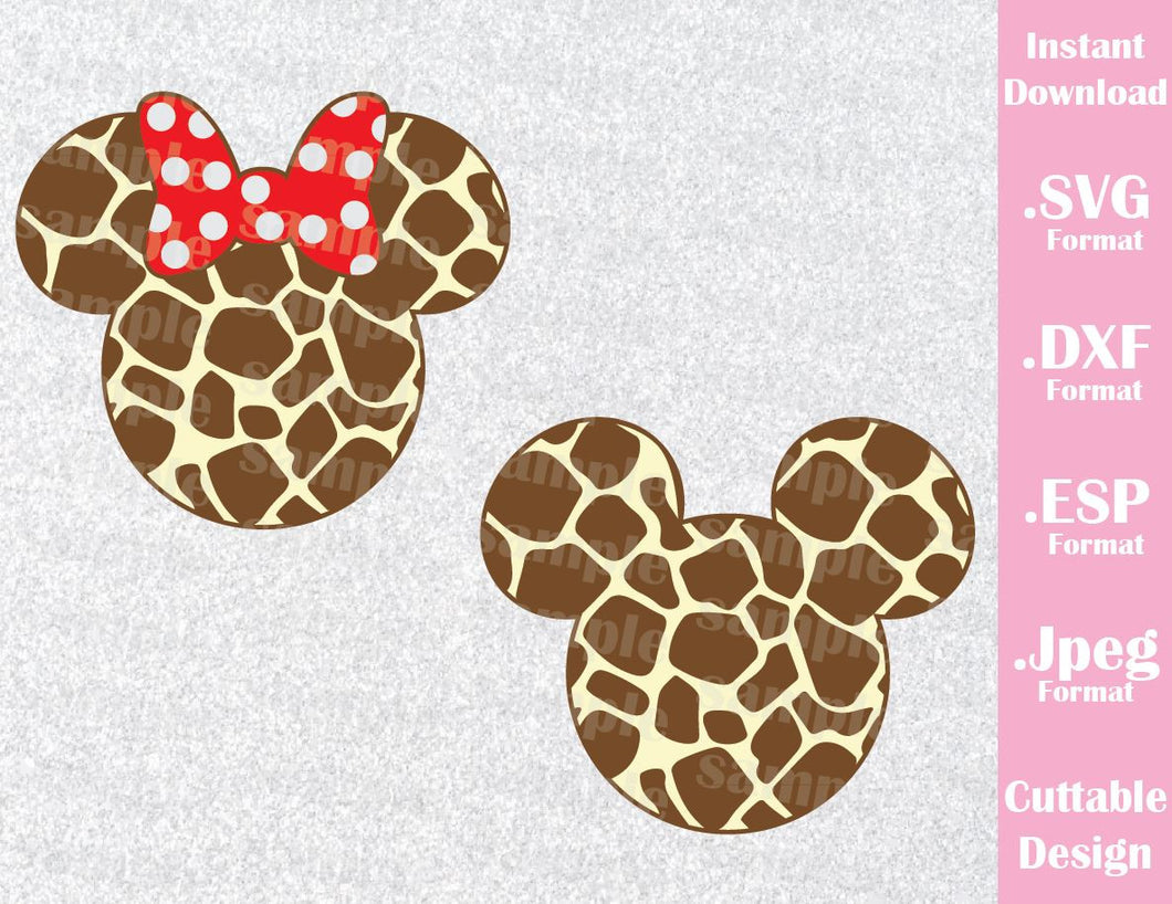 Animal Kingdom Mickey and Minnie Ears Animal Print Inspired Cutting File in SVG, ESP, DXF and JPEG Format