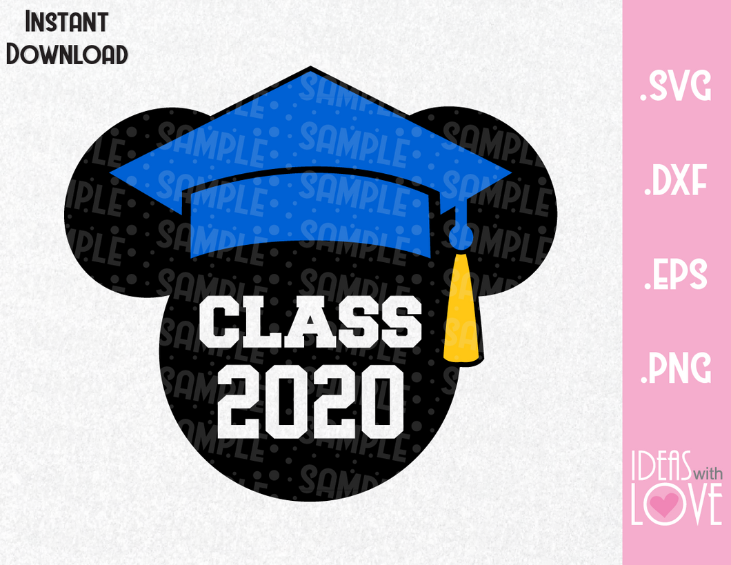 Graduation Mickey Ears Inspired SVG, EPS, DXF, PNG Format