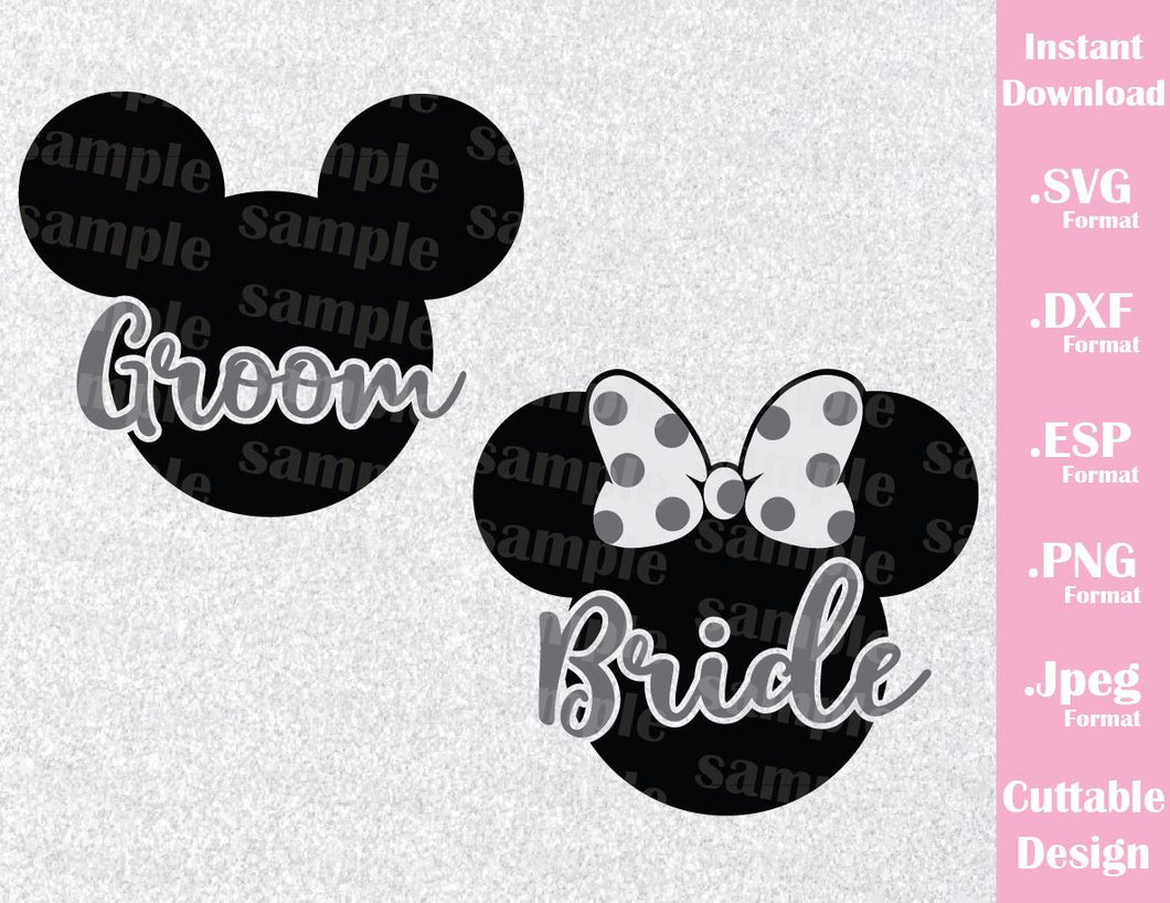 Mickey and Minnie Ears, Groom and Bride Inspired Cutting File in SVG, ESP, DXF, PNG and JPEG Format
