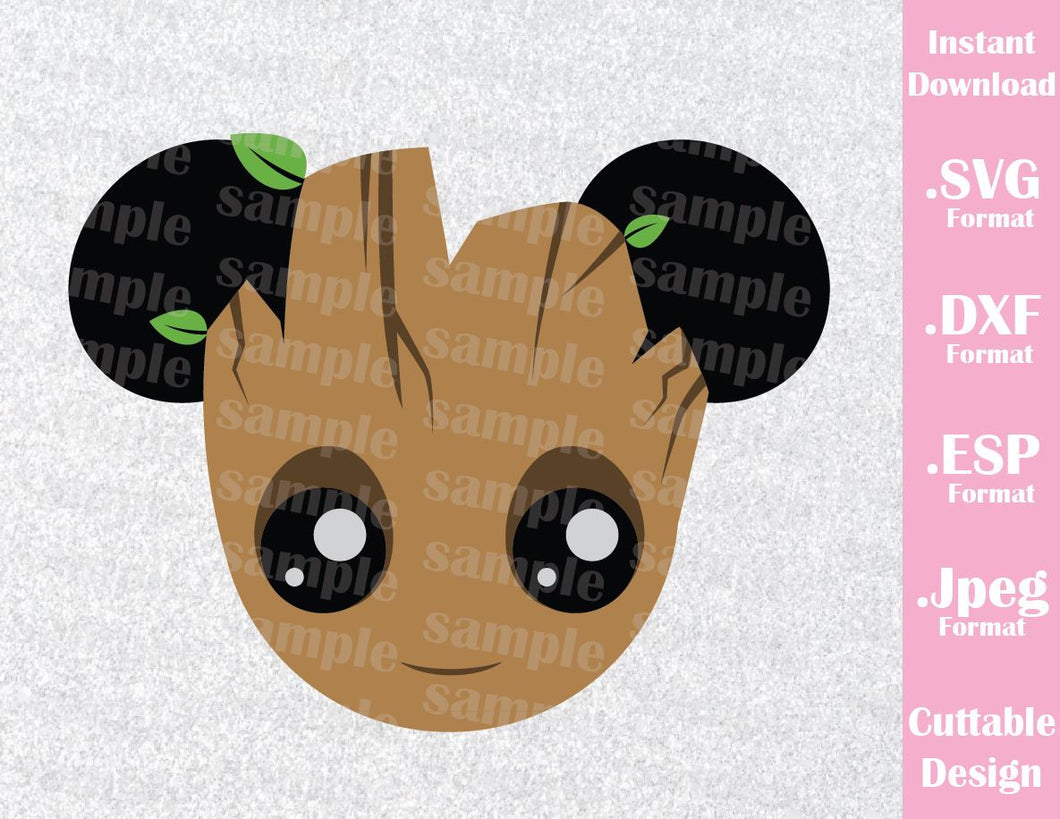 Guardian of the Galaxy Groot Mickey Ears Inspired Cutting File in SVG, ESP, DXF and JPEG Format