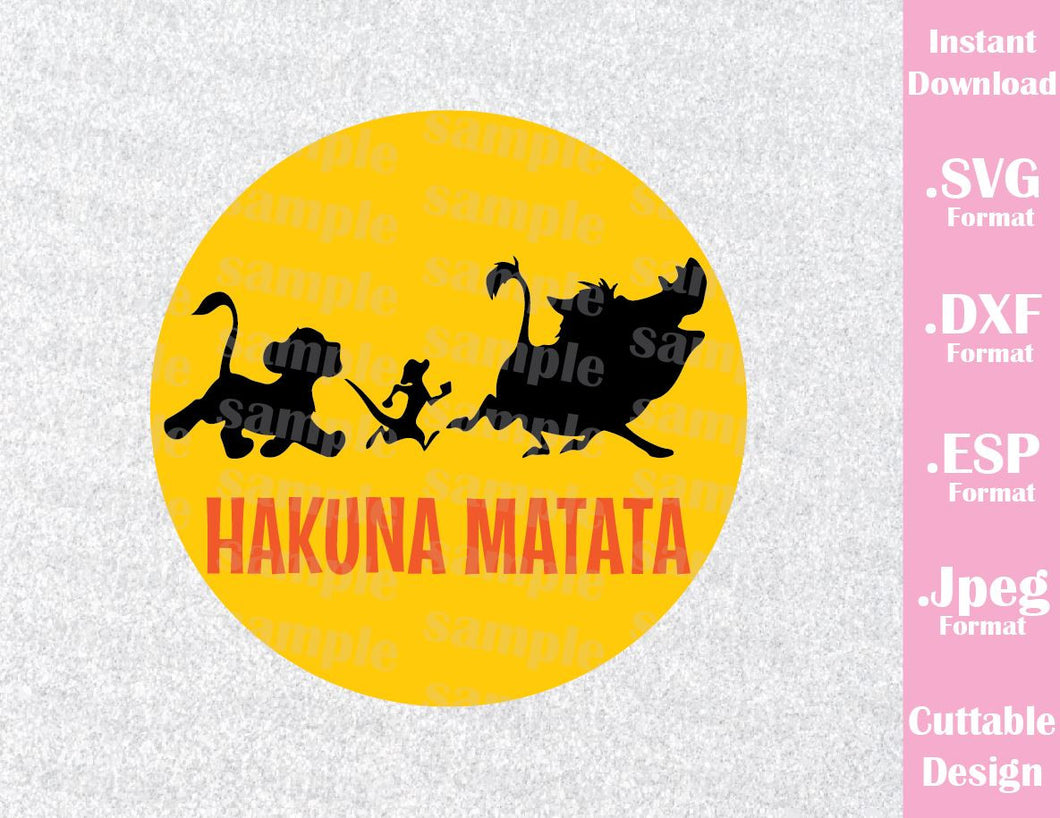 Lion King Animal Kingdom Hakuna Matata Inspired Cutting File in SVG, ESP, DXF and JPEG Format