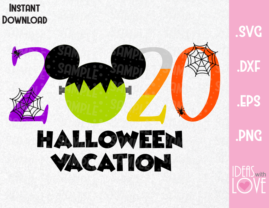 Halloween Vacation 2020 Mickey Ears Inspired SVG, EPS, DXF, PNG Format