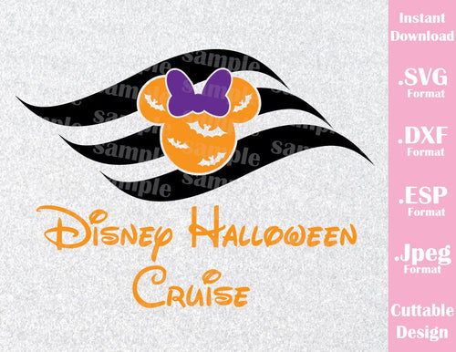 Halloween Cruise Logo Minnie Mouse Ears Halloween Inspired Cutting File in SVG, EPS, DXF and JPEG Format
