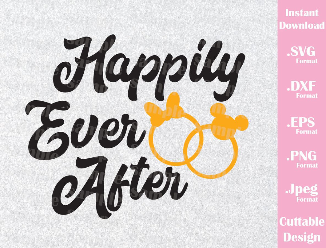 Couple Honeymoon Quote, Happily Ever After, Inspired Cutting File in SVG, ESP, DXF, PNG and JPEG Format