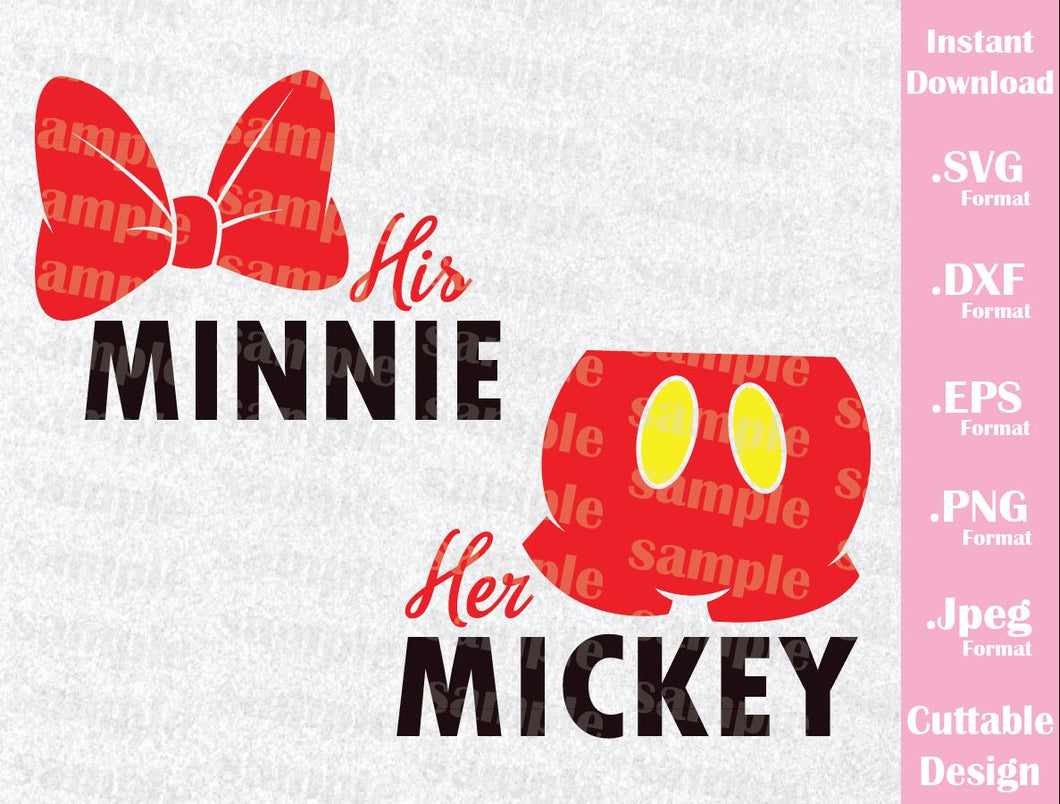 Mickey and Minnie, Couple Quote Inspired Cutting File in SVG, ESP, DXF, PNG and JPEG Format