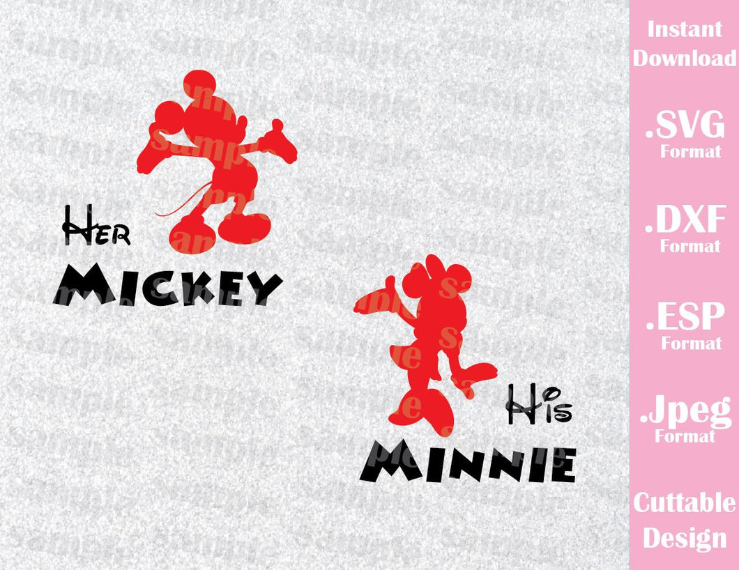 Mickey and Minnie Her Mickey His Minnie Couple Inspired Cutting File in SVG, ESP, DXF and JPEG Forma