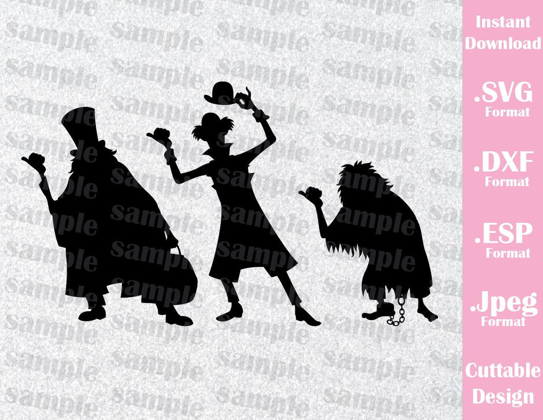 Hitchhiking Ghosts The Haunted Mansion Disney Inspired Halloween Cutting File in SVG, ESP, DXF and JPEG Format