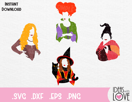 Hocus Pocus, Dani, Sanderson Witches, Mary, Winnie, Sarah Halloween Inspired SVG, EPS, DXF, PNG Format
