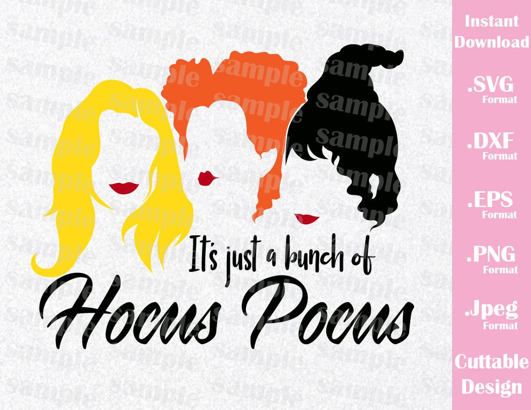 Hocus Pocus Sanderson Witches Mary, Winnie, Sarah Halloween Inspired Cutting File in SVG, EPS, DXF, PNG and JPEG Format