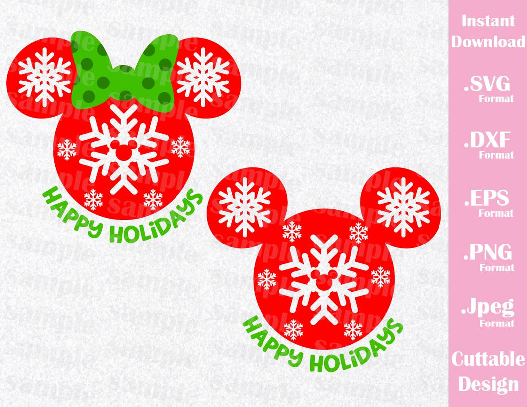 disney christmas inspired mickey and minnie ears quote cutting file in svg esp