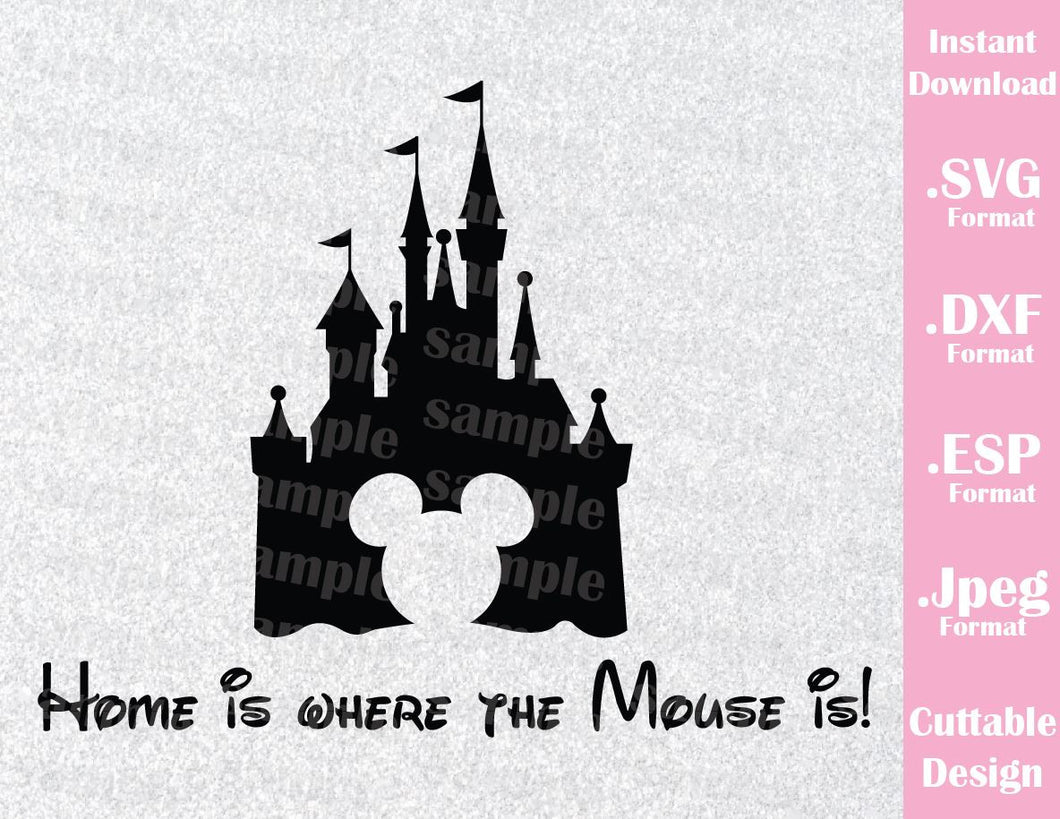 Disney Castle Home Inspired Mickey Ears Disney Parks Family Vacation Cutting File in SVG, ESP, DXF and JPEG Format