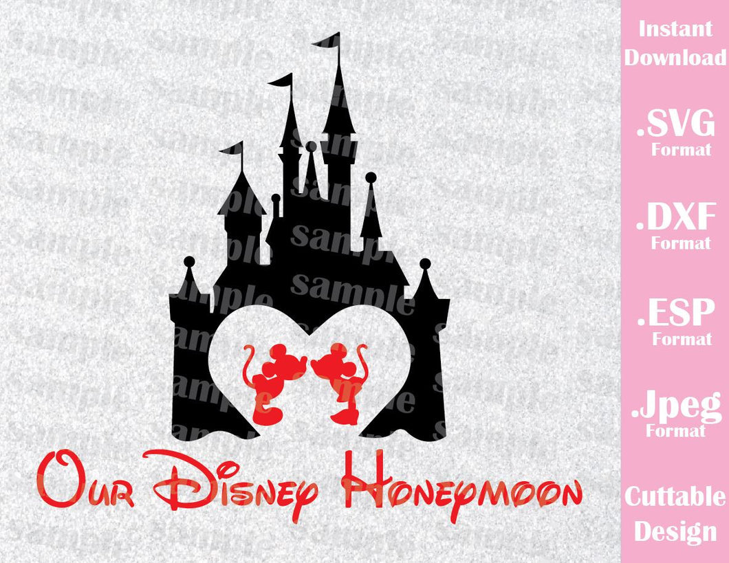 Castle Inspired Mickey and Minnie Honeymoon Cutting File in SVG, ESP, DXF and JPEG Format