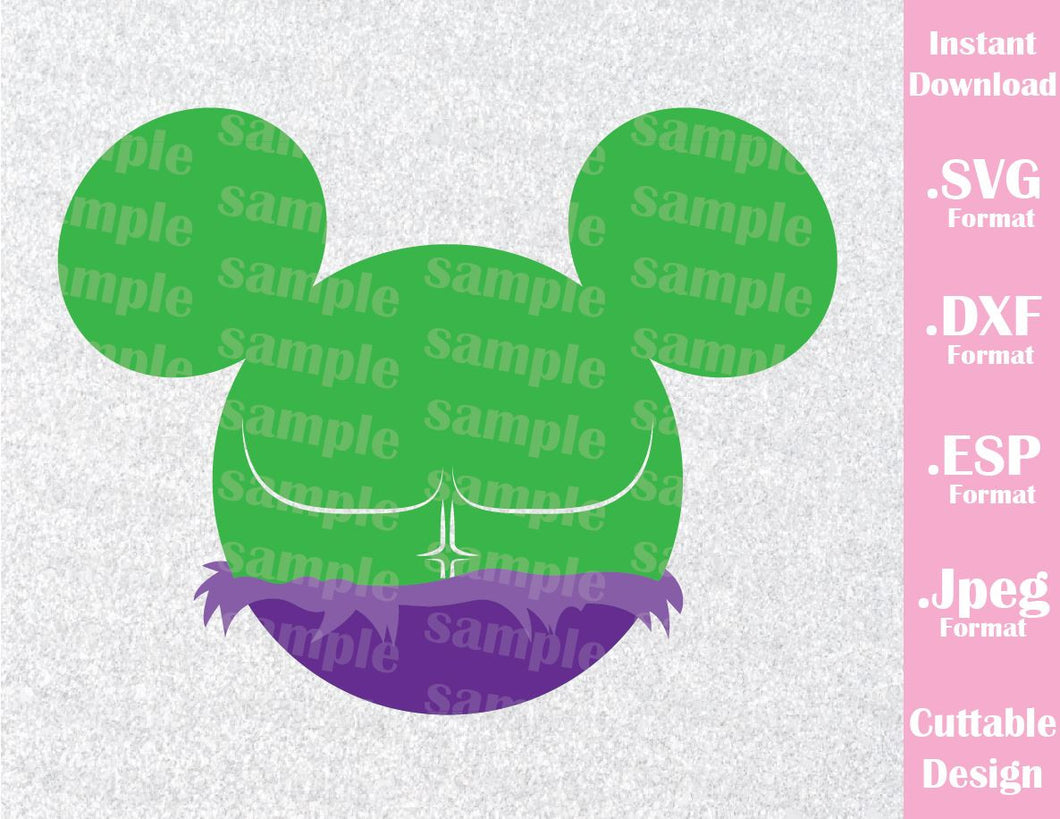 Hulk Superhero Mickey Ears Disney Inspired Cutting File in SVG, ESP, DXF and JPEG Format