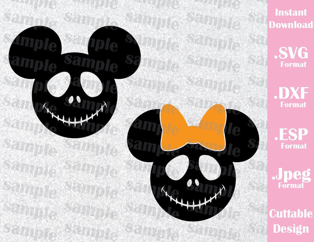Jack Mickey and Minnie Ears Halloween Inspired Cutting File in SVG, EPS, DXF and JPEG Format