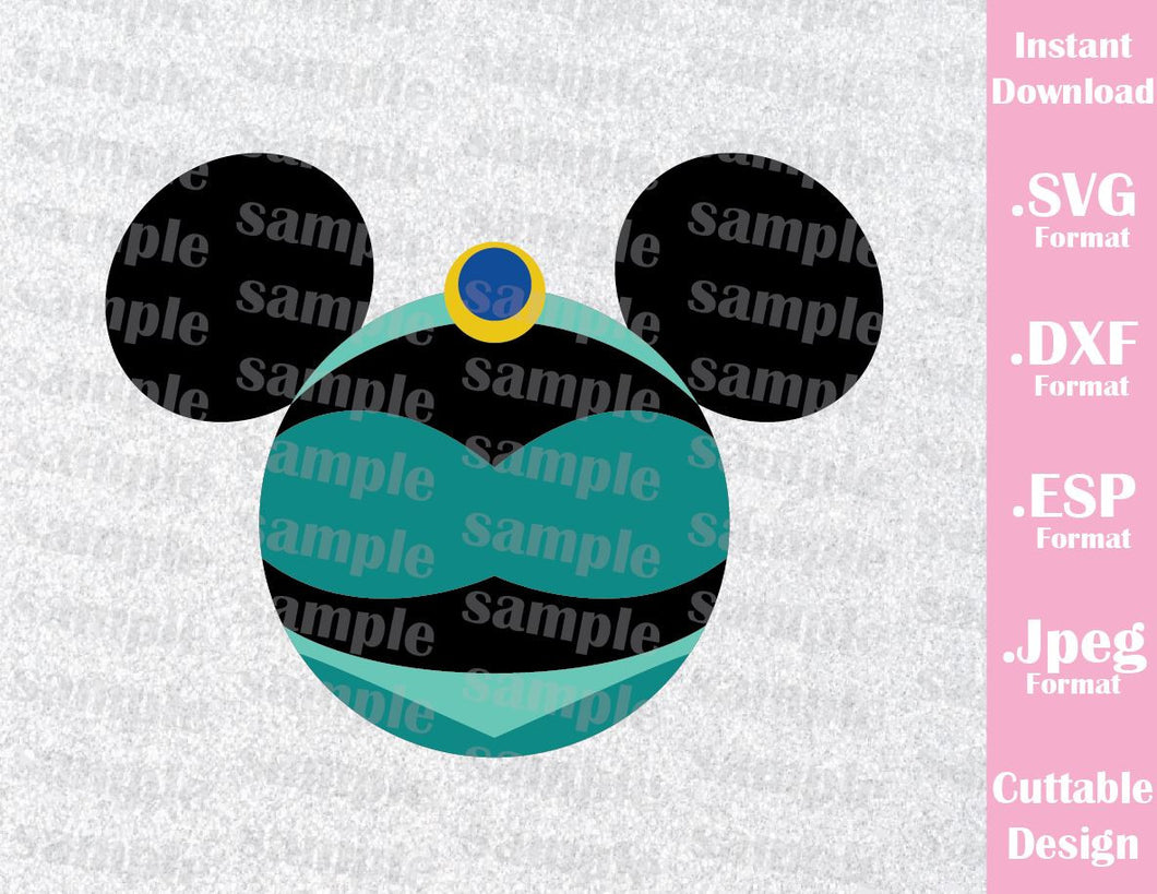 Princess Jasmine Mickey Ears Inspired Cutting File in SVG, ESP, DXF and JPEG Format
