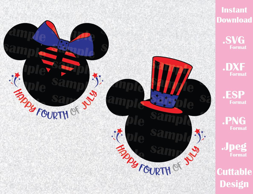 Fourth of July, Mickey and Minnie Ears, Inspired Cutting File in SVG, ESP, DXF, PNG and JPEG Format
