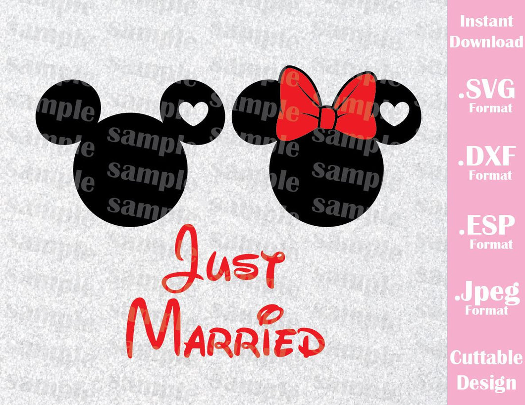 Disney Inspired Mickey and Minnie Mouse Ears Just Married Quote Honeymoon Cutting File in SVG, ESP, DXF and JPEG Forma