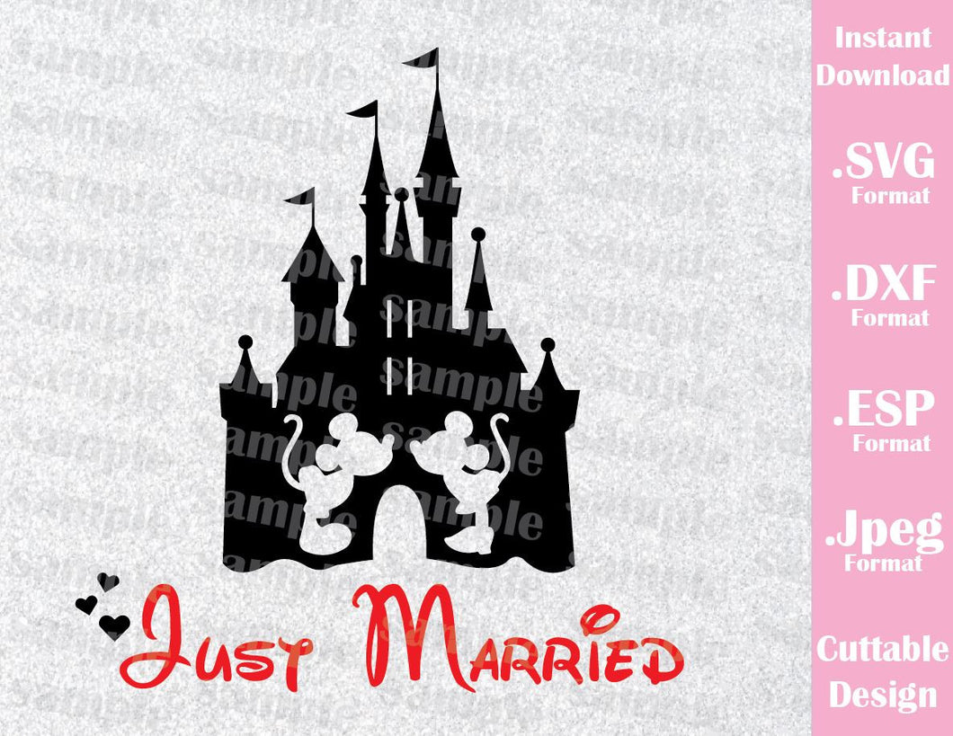 Castle Inspired Mickey and Minnie Ears Just Married Cutting File in SVG, ESP, DXF and JPEG Format