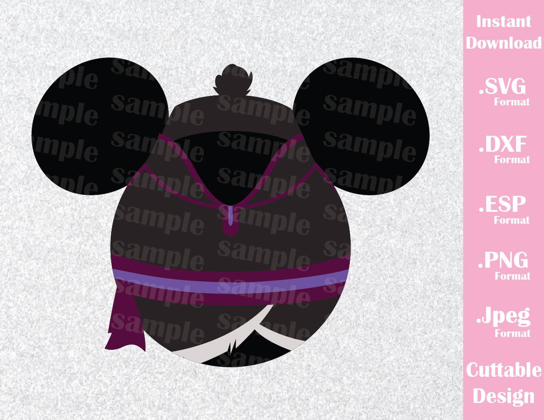 Kristoff Mickey Ears Frozen Inspired Cutting File in SVG, ESP, DXF, PNG and JPEG Format