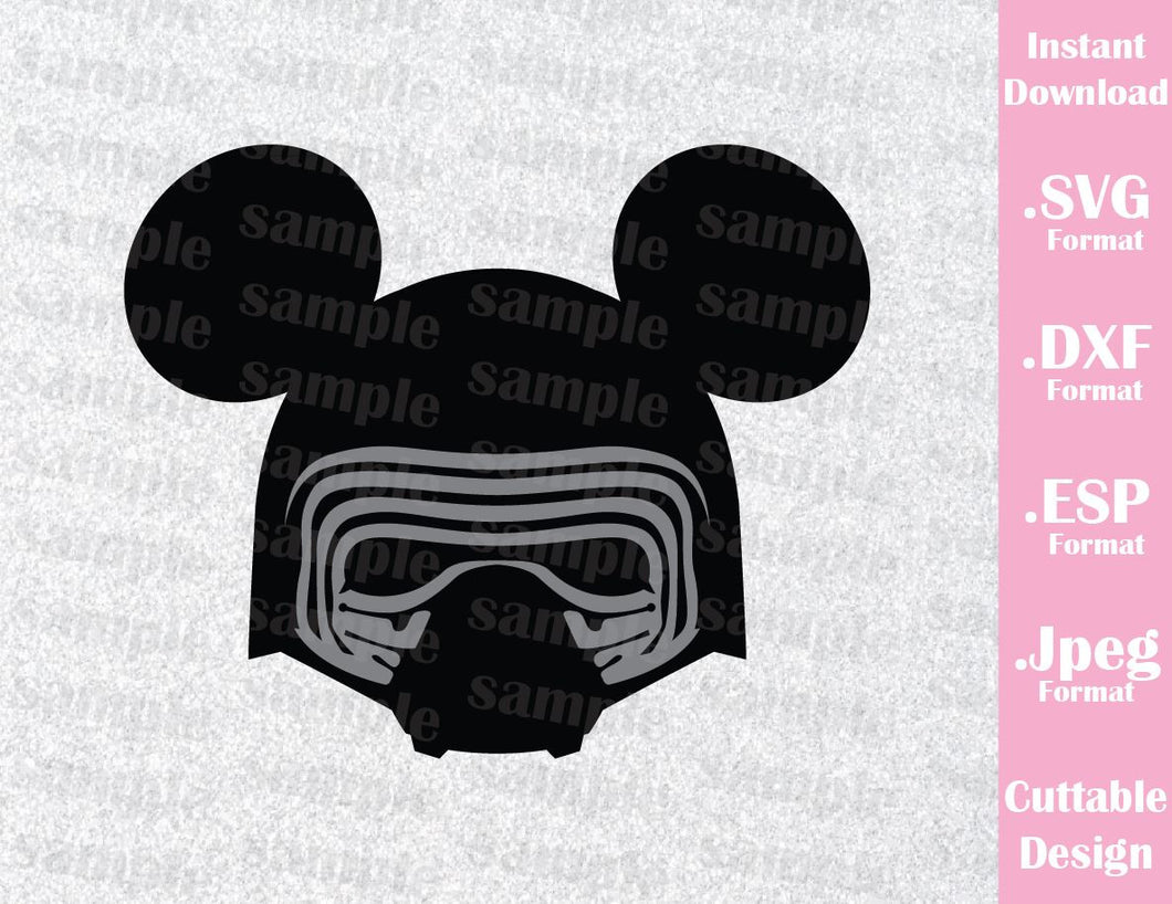 Kylo Ren Mickey Ears Star Wars Inspired Cutting File in SVG, ESP, DXF and JPEG Format