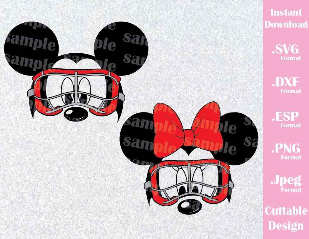 Mickey and Minnie Ears Lacrosse Goggles Inspired Cutting File in SVG, ESP, DXF, PNG and JPEG Format