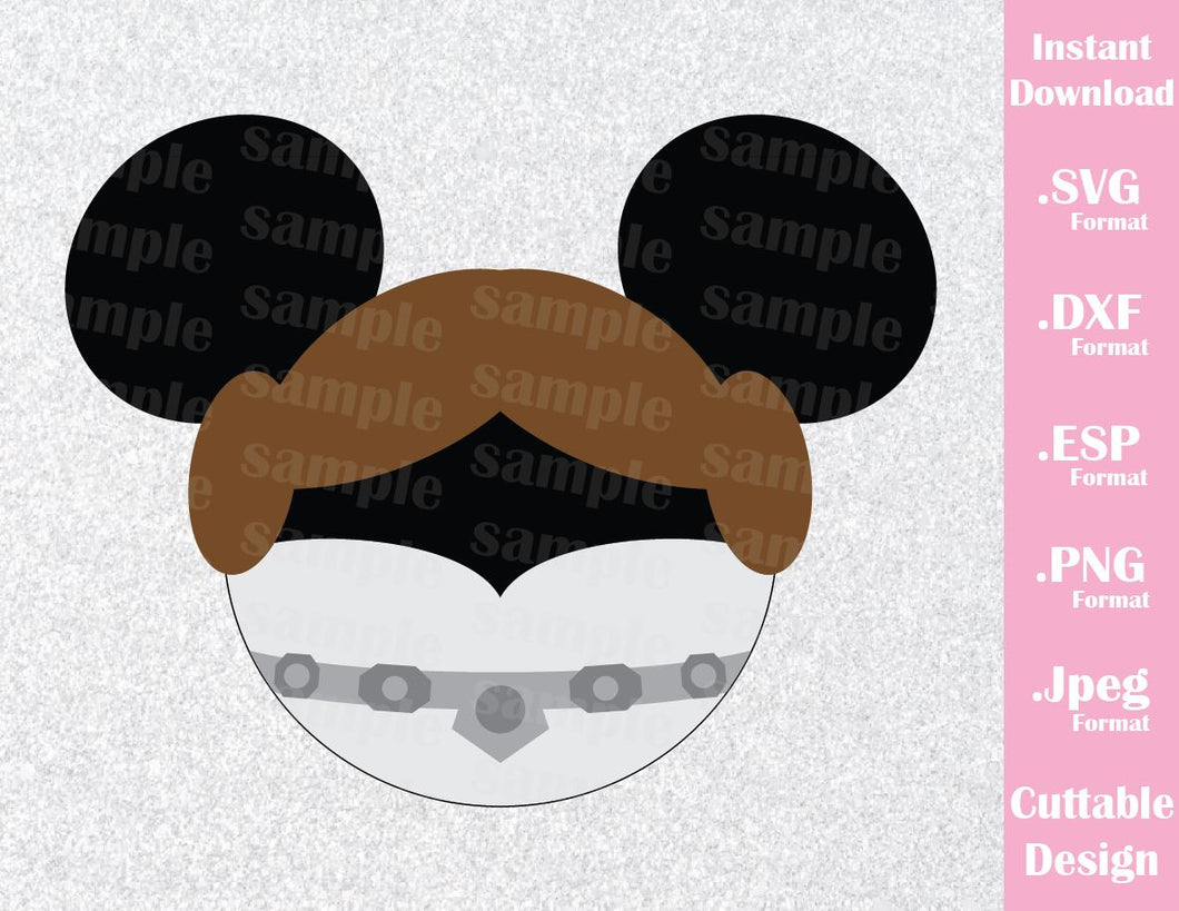 Princess Leia Mickey Ears Star Wars Disney Inspired Family Vacation Cutting File in SVG, ESP, DXF, PNG and JPEG Format