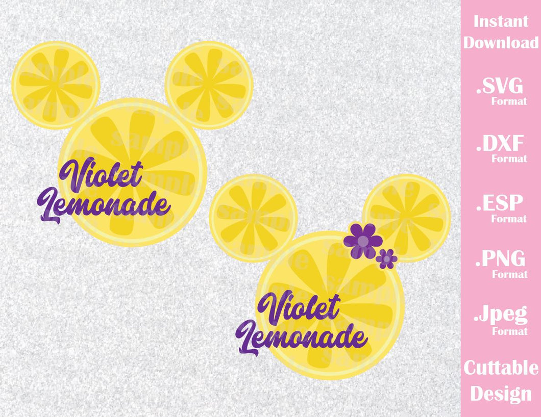 Mickey and Minnie Ears, Violet Lemonade Inspired Cutting File in SVG, ESP, DXF, PNG and JPEG Format