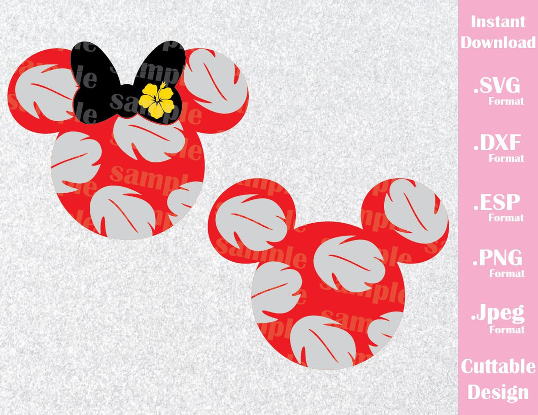 Lilo Mickey and Minnie Ears from Lilo and Stitch Inspired Cutting File in SVG, ESP, DXF, PNG and JPEG Format