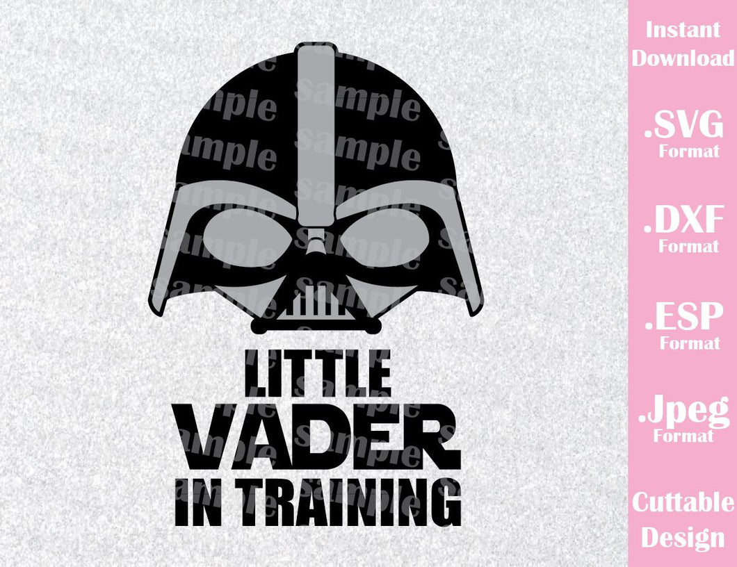 Darth Vader Baby Quote Little Vader in Training Star Wars Inspired Cutting File in SVG, ESP, DXF and JPEG Format
