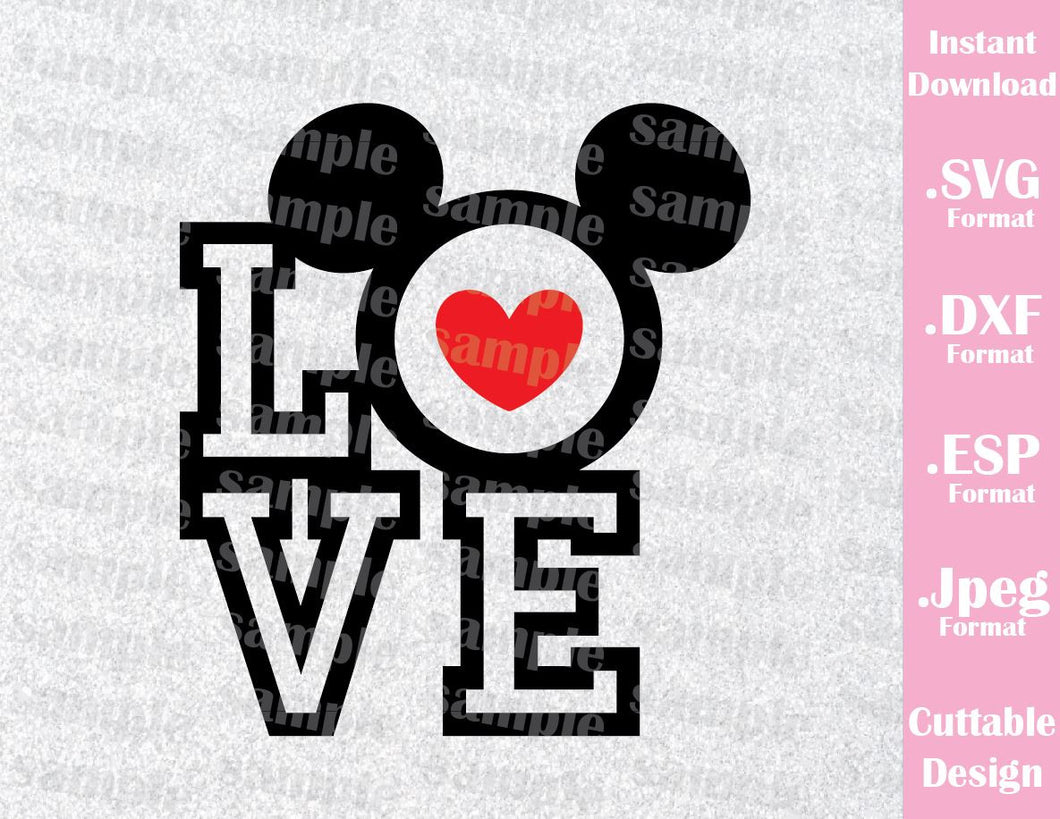 Inspired Mickey Ears Love Quote Honeymoon Cutting File in SVG, ESP, DXF and JPEG Forma