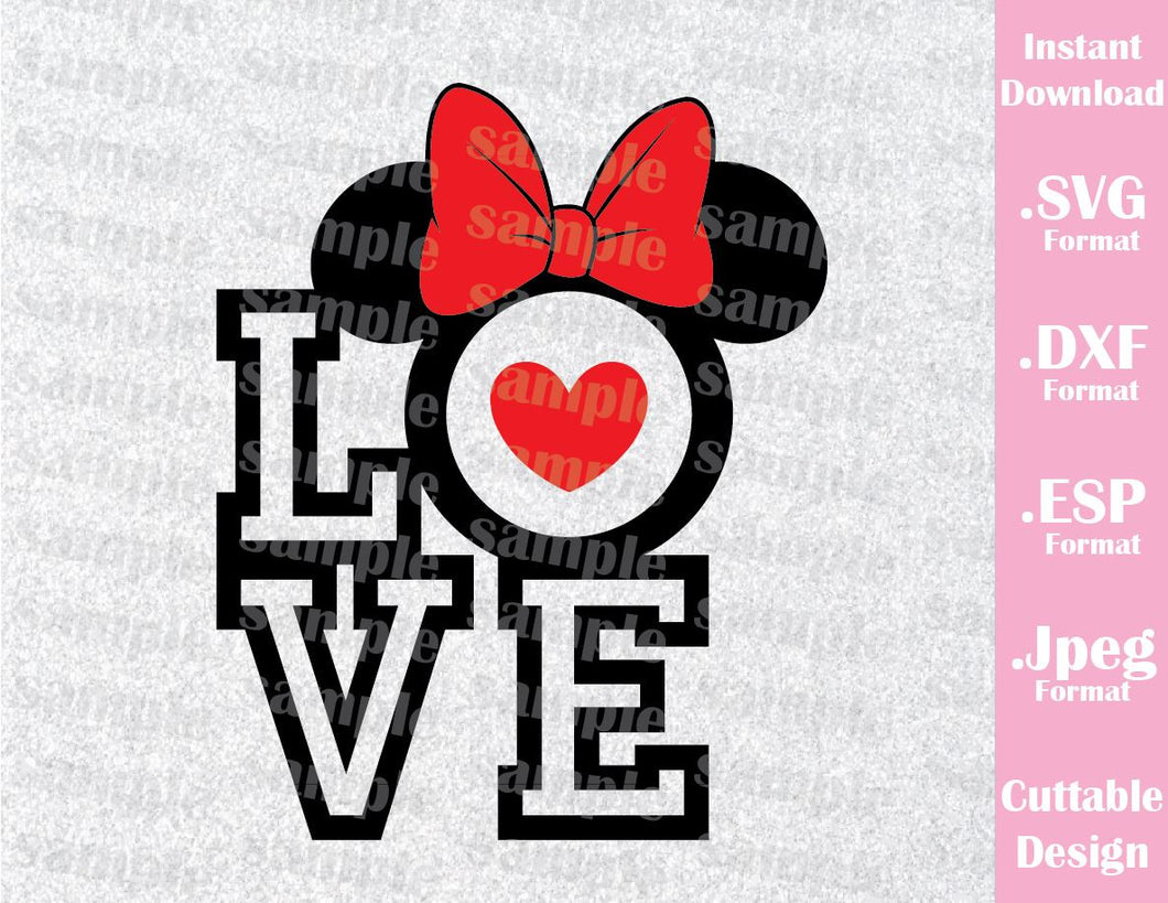 Disney Inspired Minnie Mouse Ears Love Quote Disney Honeymoon Cutting File in SVG, ESP, DXF and JPEG Forma