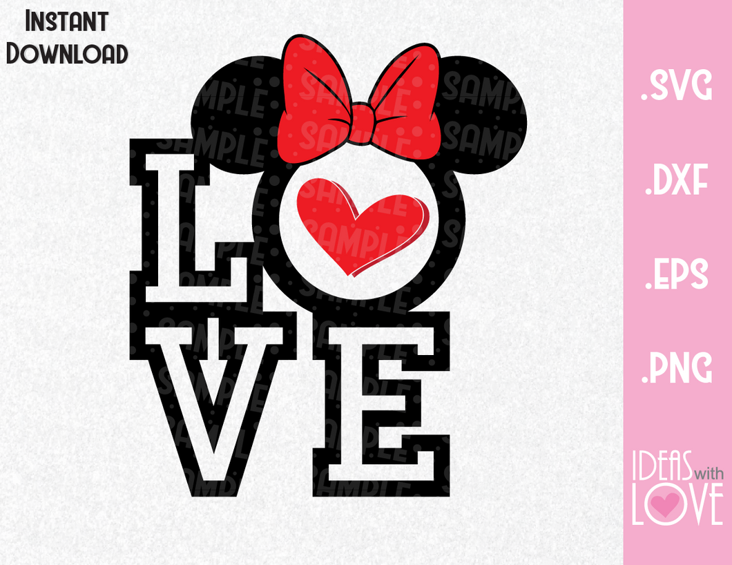 Minnie Ears Love Quote Inspired SVG, EPS, DXF, PNG