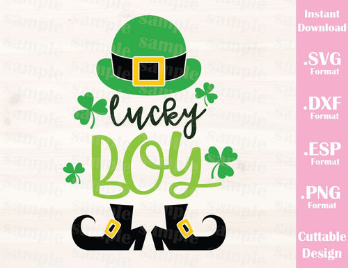 St. Patrick's Day Quote, Lucky Boy, Baby, Kid, Cutting File in SVG, ESP, DXF and PNG Format for Cricut and Silhouette