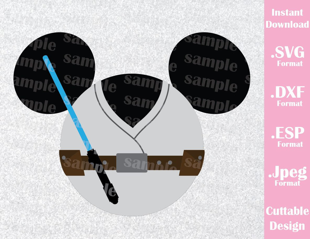 Luke Mickey Ears Star Wars Inspired Cutting File in SVG, ESP, DXF and JPEG Format