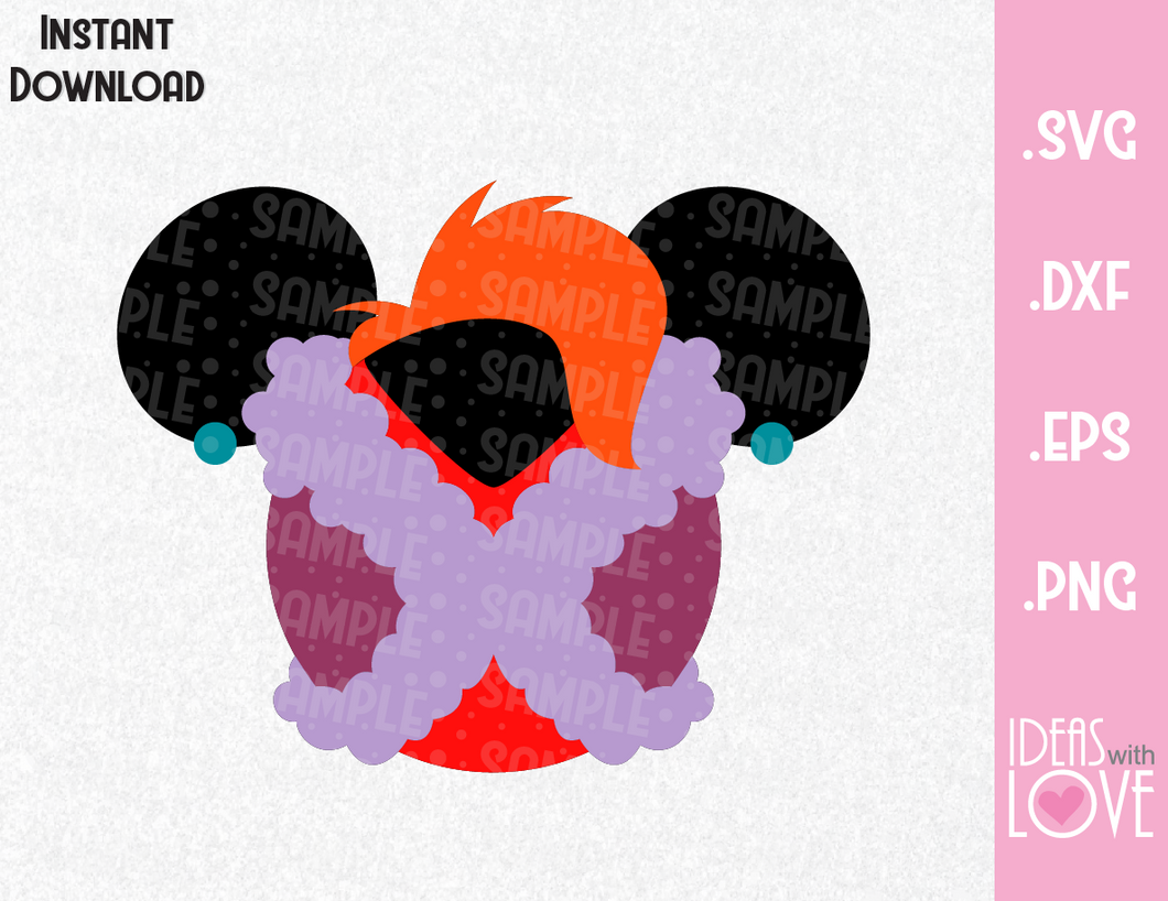 Madame Medusa Mickey Ears Villain Inspired SVG, EPS, DXF, PNG