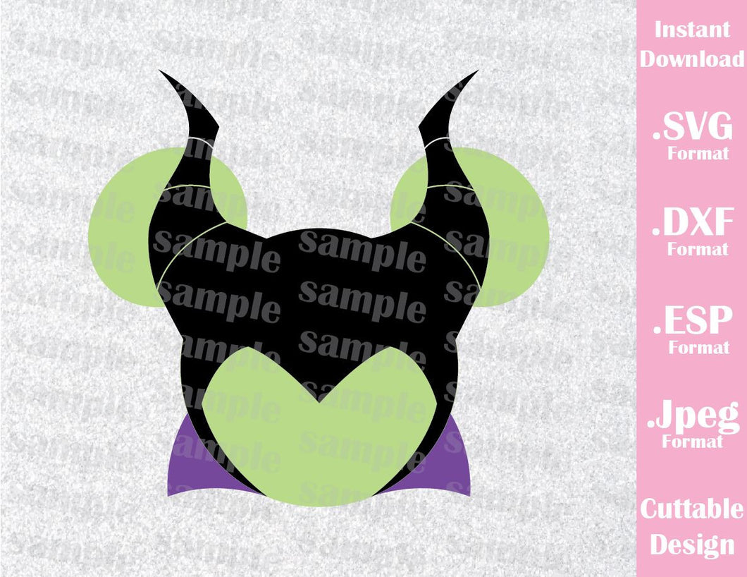 Maleficent Mickey Ears Villain Inspired From Sleeping Beauty Cutting File In Svg Esp Dxf And Jpeg Format