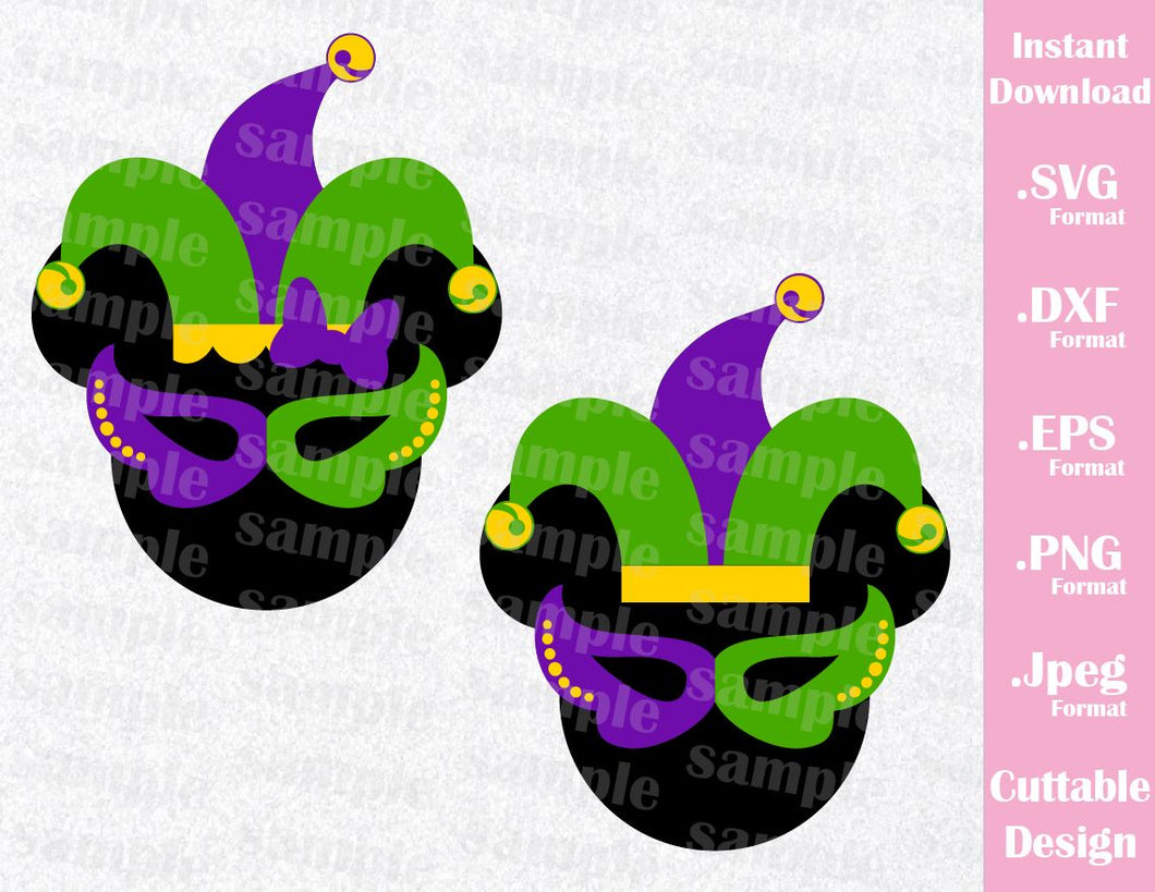 Mardi Gras Mickey and Minnie Ears Inspired Cutting File in SVG, ESP, DXF, JPG, PNG Format