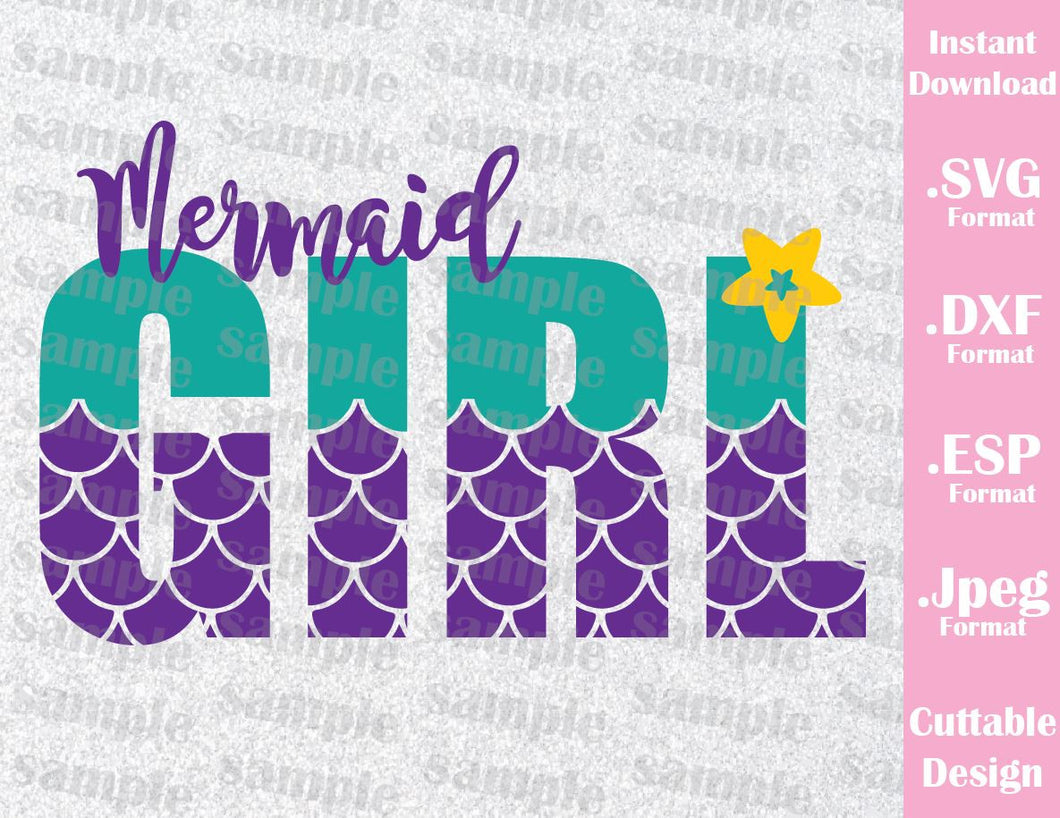 Disney Inspired Little Mermaid Ariel Mermaid Girl Quote Cutting File in SVG, ESP, DXF and JPEG Format