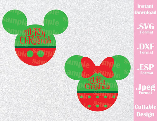 Mickey and Minnie Mouse Ears Merry Christmas Disney Inspired Cutting File in SVG, ESP, DXF and JPEG Format