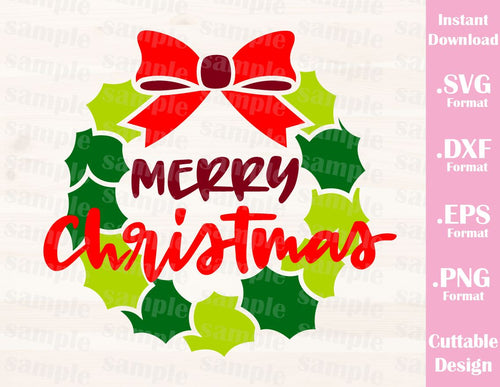 Merry Christmas Quote Cutting File in SVG, ESP, DXF and PNG Format for Cricut and Silhouette